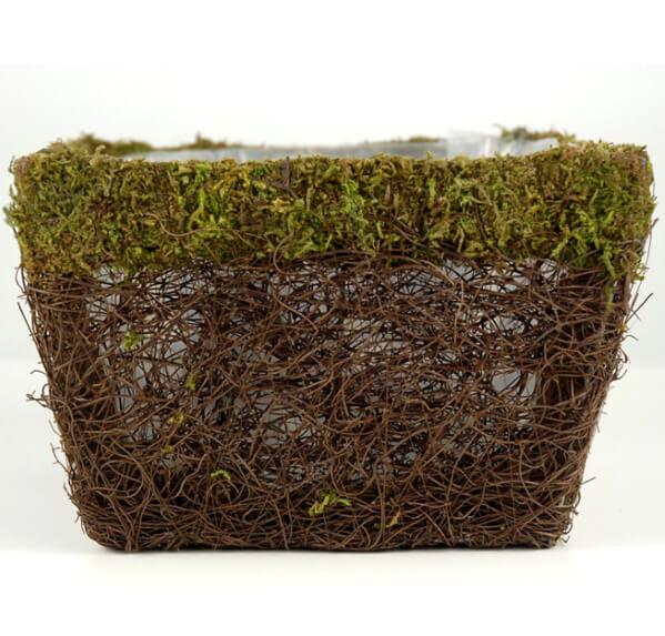 "Moss Pots 7.5"" Square Moss & Wicker"