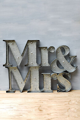 Mr & Mrs Lighted Sign 12in