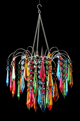 Faceted Waterfall Chandelier, Multi Colored