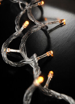 LED String Lights Amber Clear Cord 100CT 28ft
