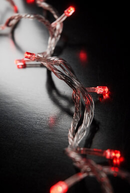 Red LED Polka Dot String Lights 28 FT, Clear Cord, 100CT , Connect up to 20 strands