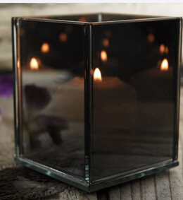 "Square Smoked Mirrored Myriad Candleholder 3.25""x 4"""