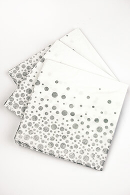 Sparkling Metallic Silver Dot Cocktail Napkins