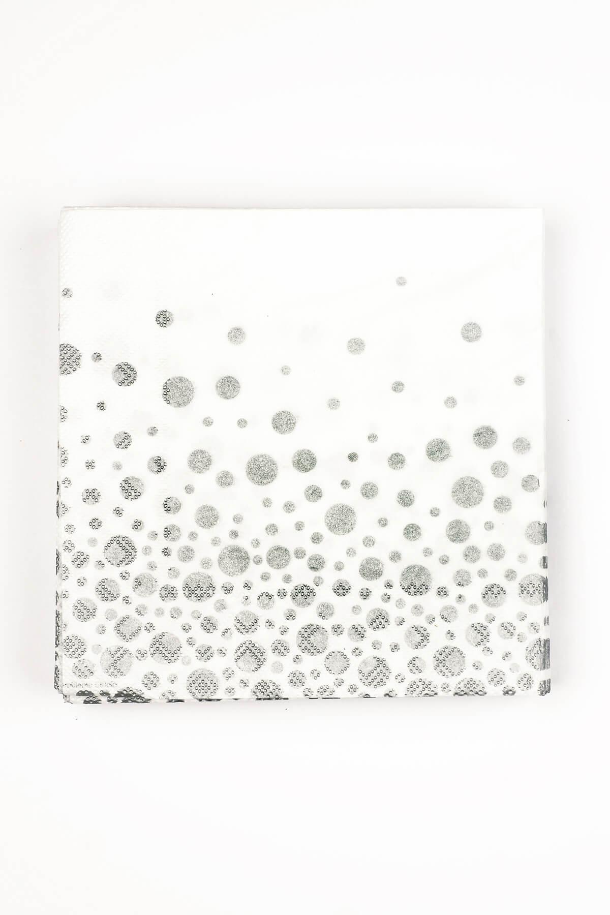 Sparkling Metallic Silver Dot Cocktail Napkins