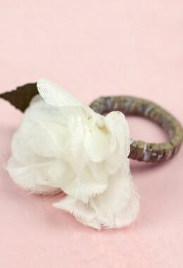 Mud Pie Hydrangea Napkin Ring, Linen Flower