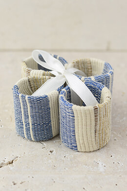4  Blue & Ivory Cotton Napkin Rings