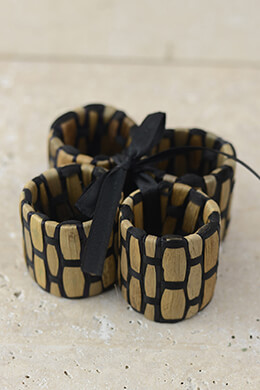 4 Water Hyacinth Woven Napkin Rings