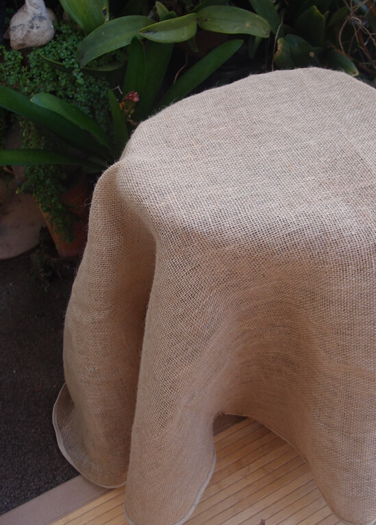 Hemmed Burlap Tablecloth 60in Round