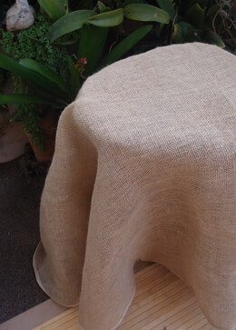 "60"" Round Burlap Tablecloth Finished Edges"
