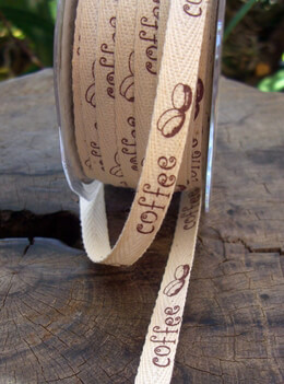 "Natural Cotton Ribbon with Printed Coffee Beans 3/8"" width 27 yards"