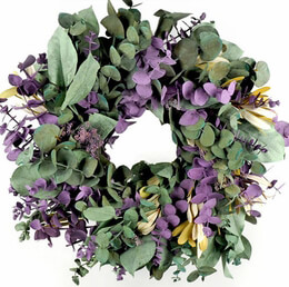 Natural Eucalyptus Preserved Sage & Lavender Wreath 17in