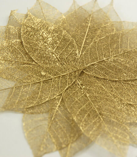 "Natural Gold Metallic 2"" Skeleton Leaves (20 leaves/pkg)"