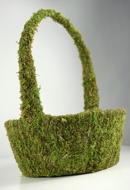 Natural Moss Covered Basket 8x12