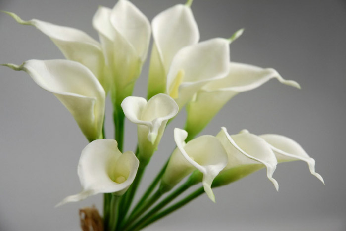 """Mini Real Touch Calla Lily Wedding Bouquet in White -14"""" Tall"""