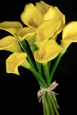 Real Touch Hand-Tied Yellow Calla Lily Wedding Bouquet 14""