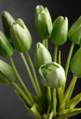 Real Touch Silk Flower Mini Green Tulip Bouquet 14""