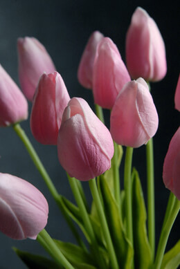 """Real Touch Silk Flower Mini Pink Tulip Bouquet 15"""""""