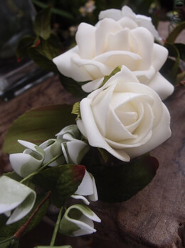 White Rose Corsage Artificial 6in