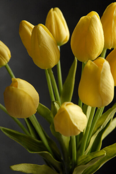 real touch silk flower mini yellow tulips bouquet 15 u0026quot