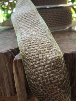 "Soft Natural Weave Green & Beige Wired Ribbon 1-1/2"" width 9 yds"