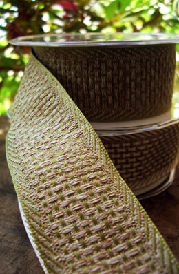 """Soft Natural Weave Green & Beige Wired Ribbon 1-1/2"""" width 9 yds"""