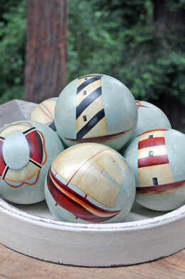 "6 Ceramic Nautical 4"" Balls"