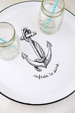 Refuse to Sink Waterside Enameled Serving Tray 14.5in