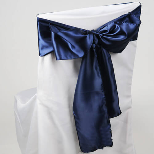 Navy Blue Satin Chair Sashes (Pack of 10)