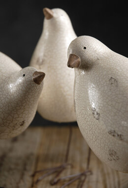 3 White Nellie Birds  Crackle Glazed
