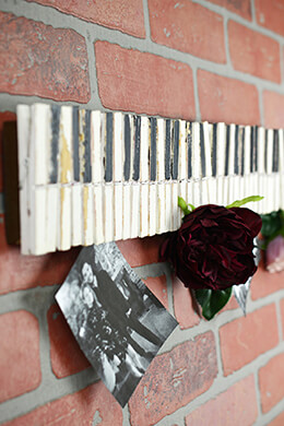 "22"" Wood Clothespin Piano Key Photo & Card Holder"