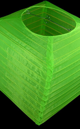 "Nylon Lanterns 10"" Square Neon Green Lantern"