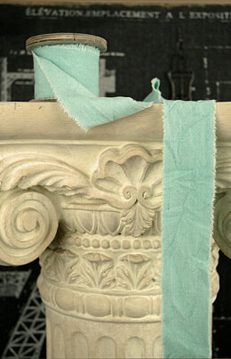 OASIS Raw Muslin Ribbon Aqua 2
