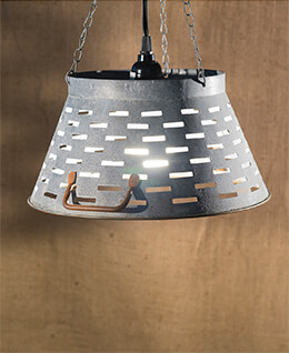 Olive Bucket Lamp Gray 11in