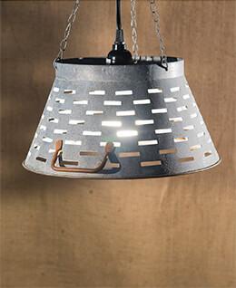 Olive Bucket Lamp Gray 11in