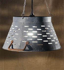 Olive Bucket Lamp Gray 14in