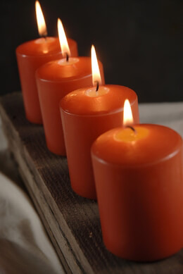 4 Large Votive / 3in Pillar Candles   Bright Orange