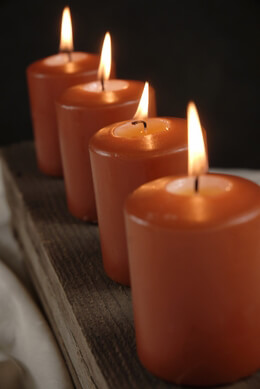 4 Large Votive/ 3in Pillar Candles  Sienna Orange