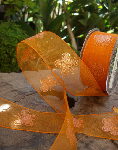 "Orange Crystal Butterfly Organza Wired Ribbon 1 1/2"" width 27 yds"