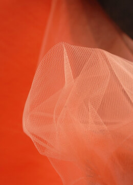 "Orange Fine Tulle 54"" x 40 yards ("