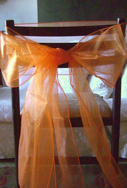 "10 Orange Organza Chair Sashes 8"" x 108"""