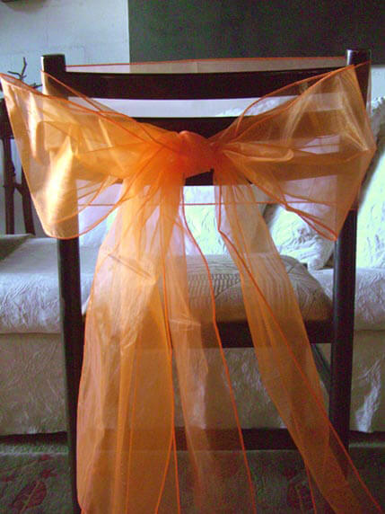 "10 Orange Organza Chair Sashes 8"" x 108"""