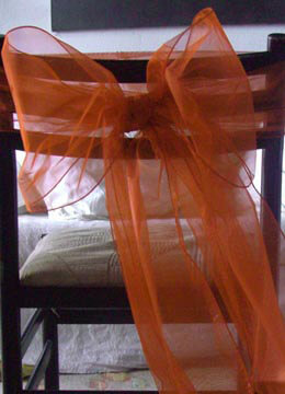 """Orange Organza Chair Sashes 9"""" Wide (Pack of 10)"""