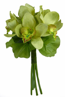 Artificial Orchid Bouquet Green 12in