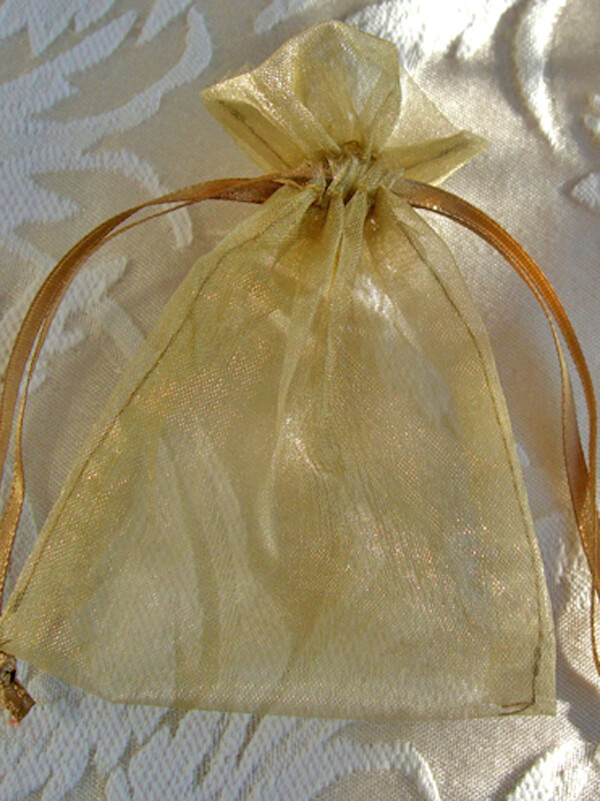 Organza Favor Bags Gold 3x4in (Pack of 10)