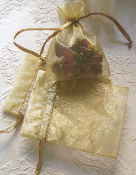 10 Organza 3x4 Gold Favor Bags
