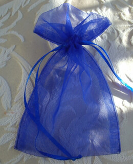 Blue Organza Favor Bags 4x6 Pack of 10