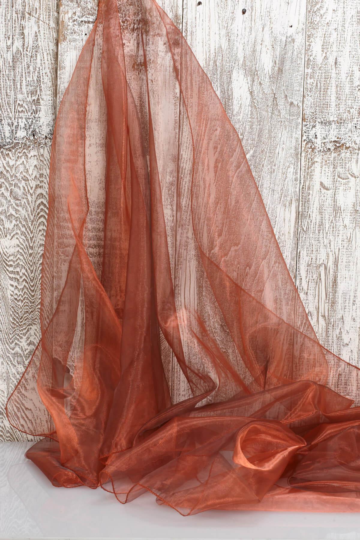 "Two Tone Hemmed Organza Fabric Copper & Black (28"" width x 3 yds)"