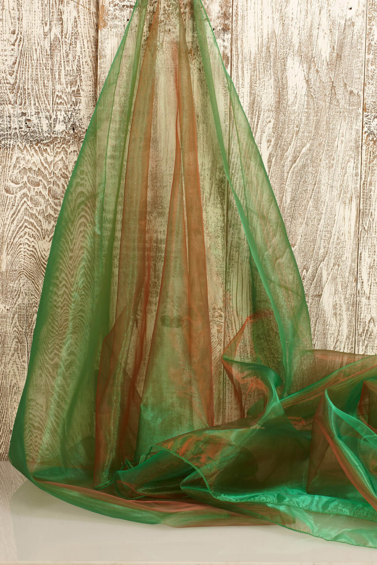 "Two Tone Organza Green & Red Fabric ( 28"" width x 3 yds)"