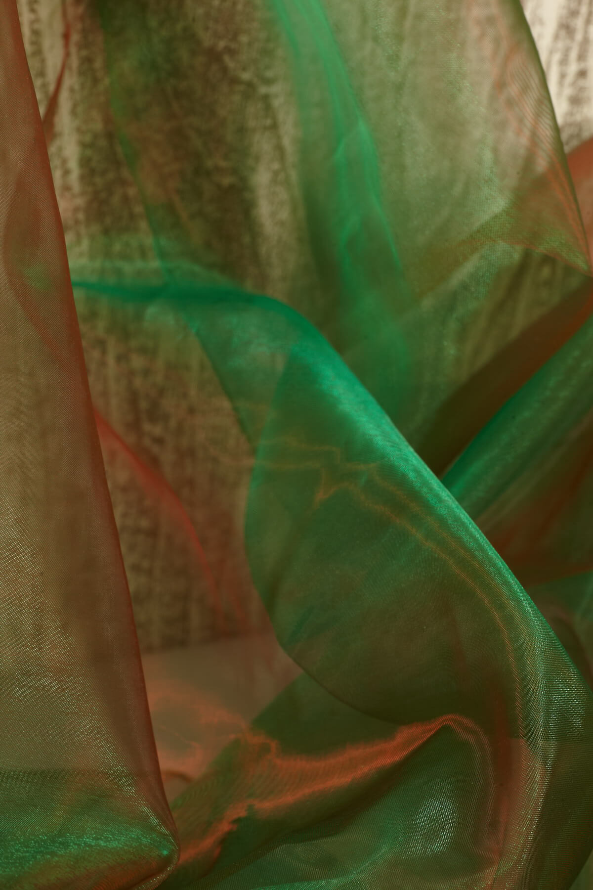 """Two Tone Organza Green & Red Fabric ( 28"""" width x 3 yds)"""