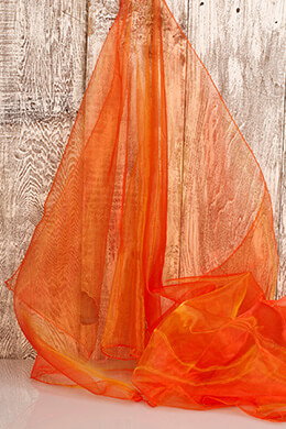 "Two Tone Organza Orange and Gold (28"" width x 3 yds)"